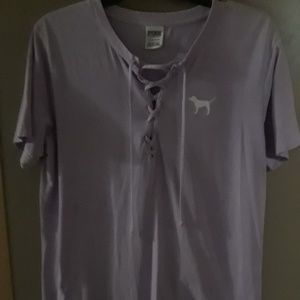 VS Pink Lace Up Lilac Campus Tee